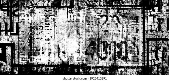Abstract grunge futuristic lettering background.  Drawing on old grungy framed surface. Vintage dirty scratch wall. Street art blueprint. Urban cyber punk monochrome illustration. Panoramic image