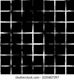 Abstract grunge grid stripe halftone background pattern. Black and white line illustration