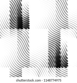 Abstract grunge grid stripe halftone background pattern. Spotted black and white line illustration