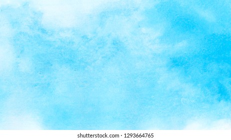 Abstract grunge light blue watercolor background. Aquarelle painted azure gradient color splashing on textured paper. Water color splash template or canvas for design