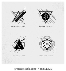 Abstract grunge polygonal logo design sample isolated on grey background. Architect studio logo design, industrial modern projects brand mark symbol. Geometric shapes and lines.