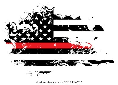An abstract grunge style American flag firefighter and firemen support theme.