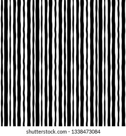 Abstract grunge style striped art paintings black lines seamless pattern