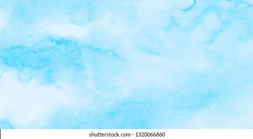 Abstract grunge tint light blue watercolor background. Aquarelle painted azure gradient color splashing on textured paper. Vintage water color splash template or canvas for design, retro card