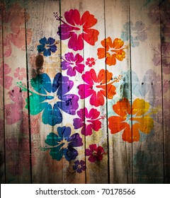 abstract grunge tropical background. Digital graffiti on a wooden fence