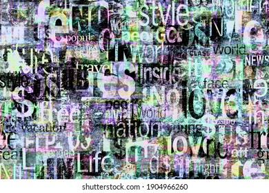 Abstract grunge urban bright colors chaotic pattern with words, letters. Old aged newspaper, magazine texture paper background. Bright colorful black teal pink horizontal collage