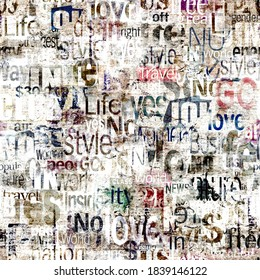 Abstract grunge urban colors geometric words, letters seamless pattern. Aged newspaper, magazine textured paper background. Multicolor collage repeating texture. Print for textile, wallpaper, wrapping