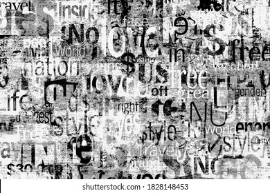 Abstract grunge urban geometric chaotic pattern with words, letters. Old aged newspaper, magazine texture paper background. Black and white horizontal collage
