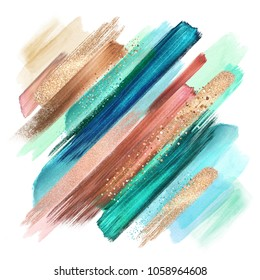 abstract grungy paint smears isolated on white, watercolor brush strokes, creative illustration, copper mint artistic palette, boho fashion, intricate ethnic background