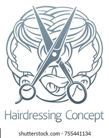 An abstract hair salon stylist hairdresser concept with womens faces and scissors