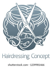 An abstract hairdresser hair salon stylist concept with womens faces and scissors