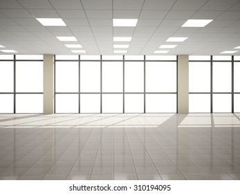 Abstract hall  3D rendering