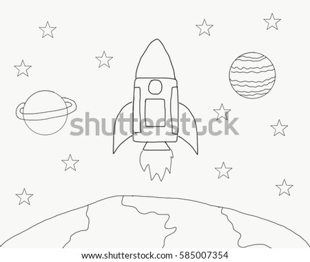Abstract Hand Draw Doodle Line Rocket Stock Illustration 585007354