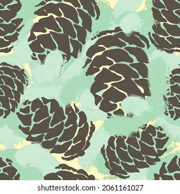 Abstract Hand Drawing Pine Cones and Camouflage Brush Strokes Seamless Pattern with Colorful Background