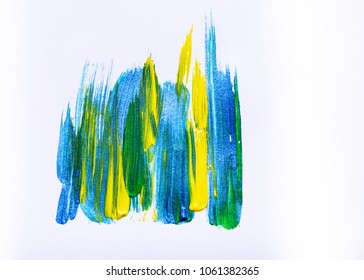 Abstract hand drawn acrylic painting creative art background.Closeup shot of brushstrokes colorful acrylic paint on canvas with brush strokes overlap of color texture. Modern contemporary art