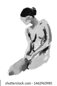 Abstract hand drawn black and white silhouette of a sitting woman looking down with hands resting on thighs on a white background. Concept of resting, calm, fragile human body