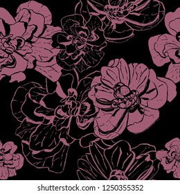 Abstract hand drawn color flowers seamless pattern. Design for bacgrounds, wallpappers, wrapping papper, textile, covers and packaging.