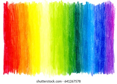 abstract hand drawn colored pencils background rainbow