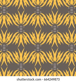 Abstract Hand Drawn Motif Half-Drop Repeat Pattern in Golden Yellow and Brown