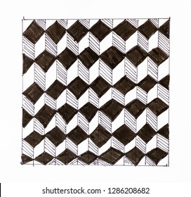 abstract hand drawn pattern on white paper by felt pen - black and white chequered ornament from cubes