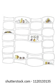 abstract hand drawn pen illustration.  Shelves with homeplants in flowerpots