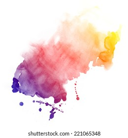 Abstract hand drawn watercolor background. Aquarelle colorful texture.