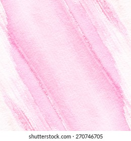 Abstract hand drawn watercolor background. Aquarelle colorful texture. Light pink backdrop.