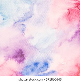 Abstract hand  drawn watercolor. Colorful splashing in the paper. It is wet texture background with paint brushes on paper. Picture for creative wallpaper or design art work. Pastel colors tone.