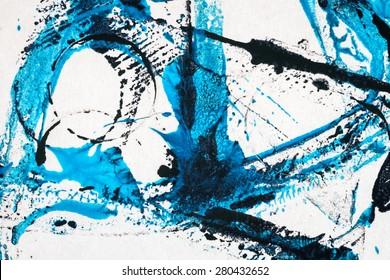 Abstract hand painted black and blue acrylic arts background