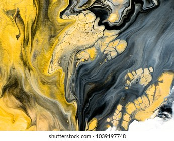 Abstract hand painted black and white with gold background, close-up of acrylic painting on canvas, wallpaper, texture.