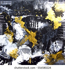 Abstract hand painted black and white with gold background, acrylic painting on canvas, wallpaper, texture.