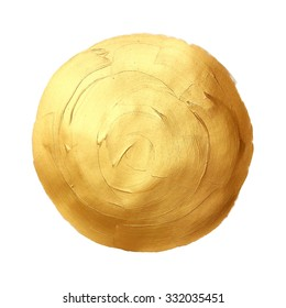 Abstract hand painted golden background. Isolated on white.