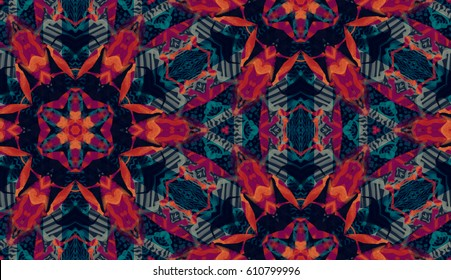 abstract hand painted kaleidoscope pattern. seamless traditional folk art. ethnic background. textile design. optical illusion. tribal oriental ornament in dark blue, red colors