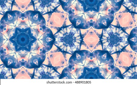 abstract hand painted tie dye shibori watercolor kaleidoscopic seamless pattern for textile, surface, fashion, interior design. acrylic gouache pattern background. indigo geometrical design
