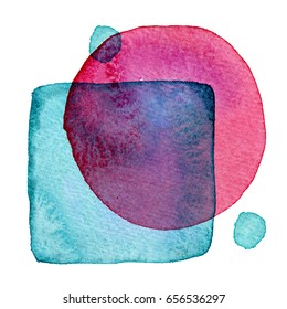 Abstract hand painted watercolor geometric figures. Background for cards or posters.