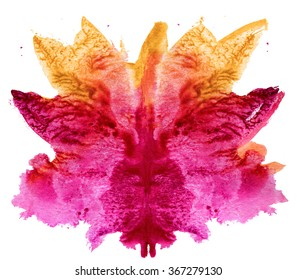 abstract hand painted watercolor ink rorschach grunge  background, red and yellow flower