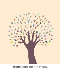 abstract hand tree, symbol of nature diversity