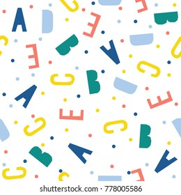 Abstract handmade letter seamless pattern background. Childish handcrafted wallpaper for design card, baby nappy, holiday wrapping paper, textile fabric, bag print, diaper, t shirt etc. Raster copy