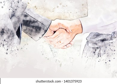 Abstract handshake business on watercolor illustration painting background.