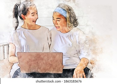 Abstract happiness family of senior mother and daughter smile looking laptop on watercolor illustration painting background.