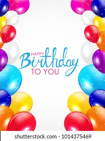 Abstract Happy Birthday Balloon Background Card Template  Illustration