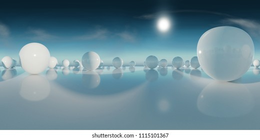abstract HDRI environment map, spherical panorama background, light source rendering with blue sky (3d equirectangular rendering)