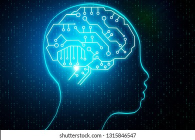 Abstract head outline with circuit brain. Artificial intelligence and robotics concept. 3D Rendering