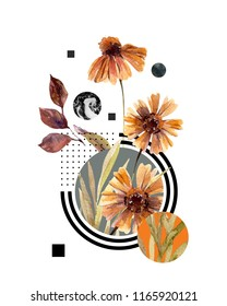 Abstract header background: watercolor fall flowers and leaves, minimal geometrical elements. Geometric shapes in modern style. Hand painted art illustration
