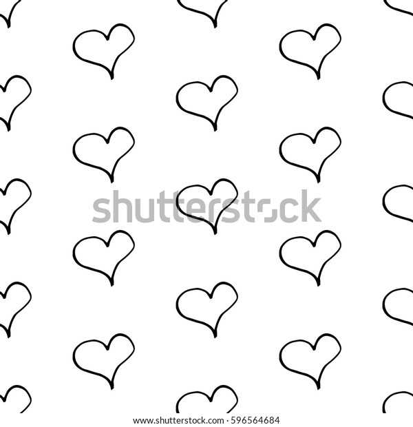 Abstract Heart Background Hand Drawn Hearts Stock Illustration 596564684
