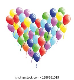 Abstract heart balloon concept illustration. Valentine Day card  raster version