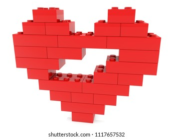 Abstract heart built from toy bricks.3d illustration
