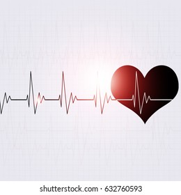 abstract heart pulsating rhythm graph abstract bright background