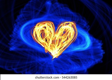 Abstract heart wave motion  glowing lines on dark background