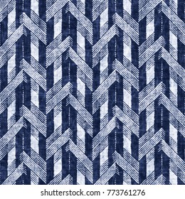 Abstract Herringbone Motif In White And Indigo Shades. Seamless Pattern.